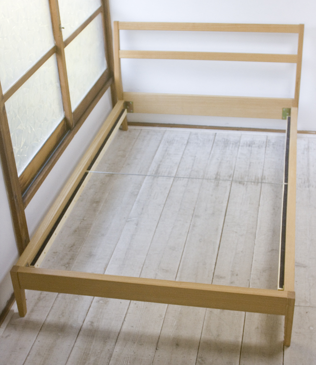 free postage! used Muji Ryohin/ Japanese ash semi-double bed frame ...